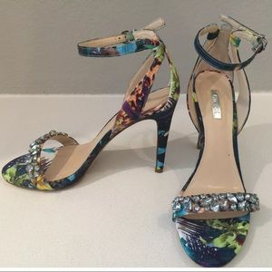 NEW Guess multi color blue crystal jeweled heels